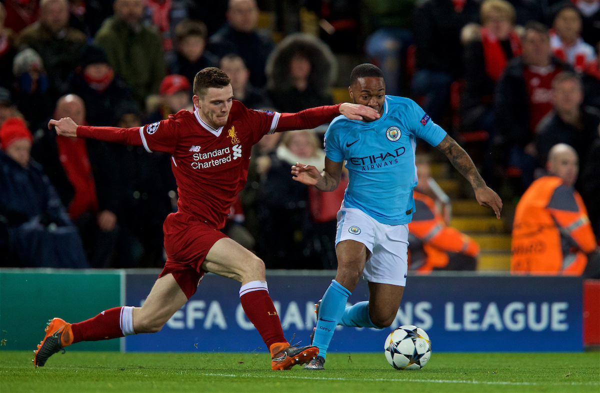 LIVERPOOL, ENGLAND - Wednesday, April 4, 2018: Liverpool's Andy Robertson (left) and Manchester City's Raheem Sterling (right) during the UEFA Champions League Quarter-Final 1st Leg match between Liverpool FC and Manchester City FC at Anfield. (Pic by David Rawcliffe/Propaganda)