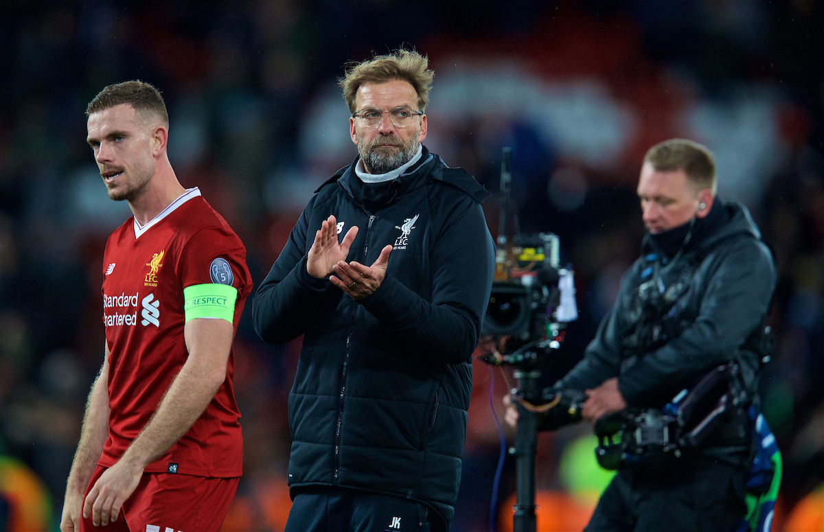 LIVERPOOL, ENGLAND - Wednesday, April 4, 2018: Liverpool's manager Jürgen Klopp celebrates after the 3-0 victory over Manchester City during the UEFA Champions League Quarter-Final 1st Leg match between Liverpool FC and Manchester City FC at Anfield. (Pic by David Rawcliffe/Propaganda)