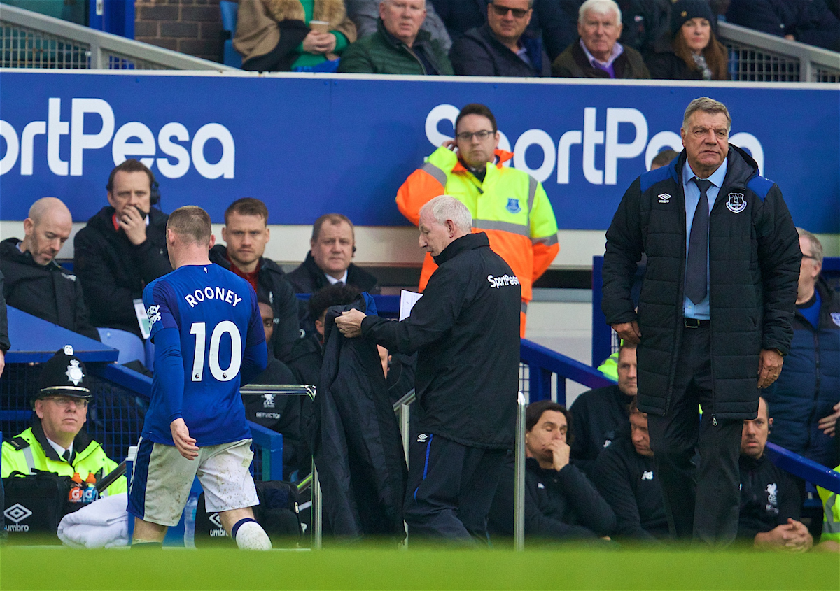 LIVERPOOL, ENGLAND - Saturday, April 7, 2018: Everton's Wayne Rooney is substituted by manager Sam Allardyce during the FA Premier League match between Everton and Liverpool, the 231st Merseyside Derby, at Goodison Park. (Pic by David Rawcliffe/Propaganda)