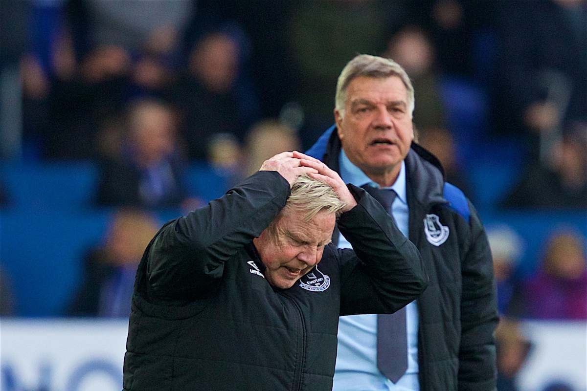 LIVERPOOL, ENGLAND - Saturday, April 7, 2018: Everton manager Sam Allardyce and assistant Sammy Lee looks dejected during the FA Premier League match between Everton and Liverpool, the 231st Merseyside Derby, at Goodison Park. (Pic by Jason Roberts/Propaganda)