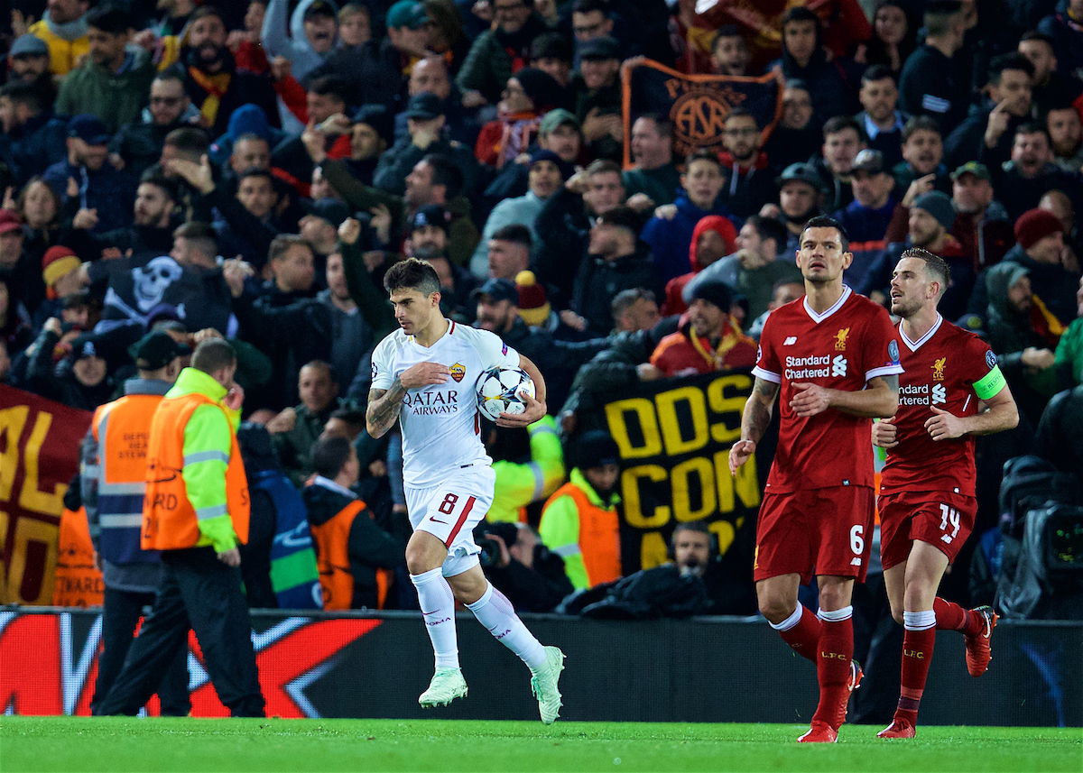 LIVERPOOL, ENGLAND - Tuesday, April 24, 2018: AS Roma's Diego Perotti celebrates after scoring the second goal from the penalty kick during the UEFA Champions League Semi-Final 1st Leg match between Liverpool FC and AS Roma at Anfield. (Pic by David Rawcliffe/Propaganda)