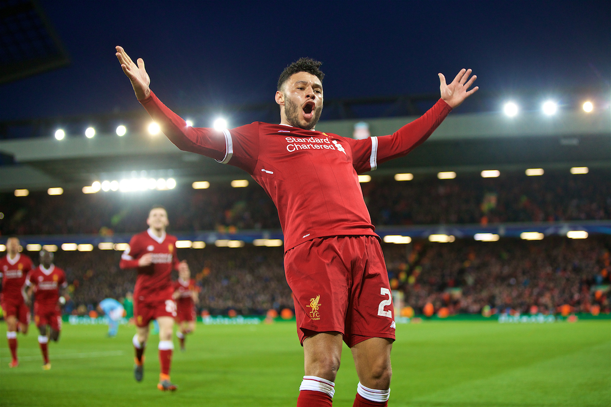 LIVERPOOL, ENGLAND - Wednesday, April 4, 2018: Liverpool's Alex Oxlade-Chamberlain celebrates scoring the second goal during the UEFA Champions League Quarter-Final 1st Leg match between Liverpool FC and Manchester City FC at Anfield. (Pic by David Rawcliffe/Propaganda)