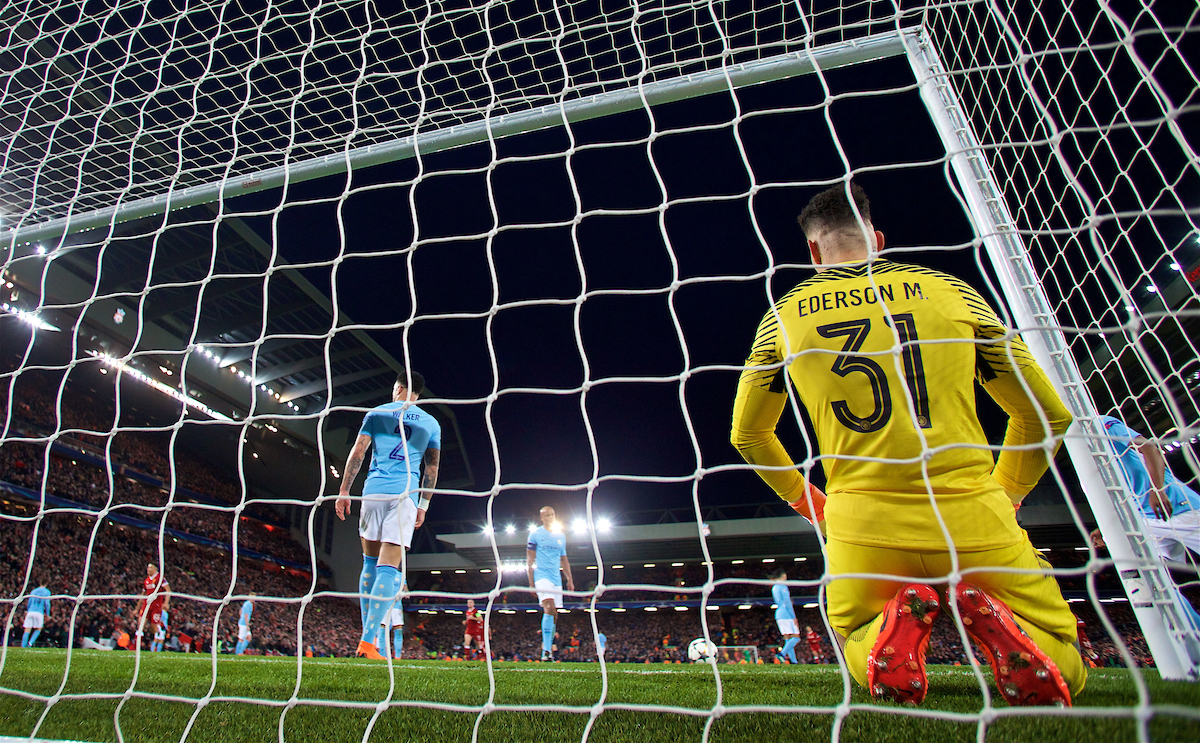 LIVERPOOL, ENGLAND - Wednesday, April 4, 2018: Manchester City's goalkeeper Claudio Bravo looks dejected as Liverpool's Sadio Mane scores the third goal during the UEFA Champions League Quarter-Final 1st Leg match between Liverpool FC and Manchester City FC at Anfield. (Pic by David Rawcliffe/Propaganda)