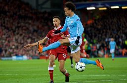 LIVERPOOL, ENGLAND - Wednesday, April 4, 2018: Liverpool's Trent Alexander-Arnold and Manchester City's Leroy Sane during the UEFA Champions League Quarter-Final 1st Leg match between Liverpool FC and Manchester City FC at Anfield. (Pic by David Rawcliffe/Propaganda)