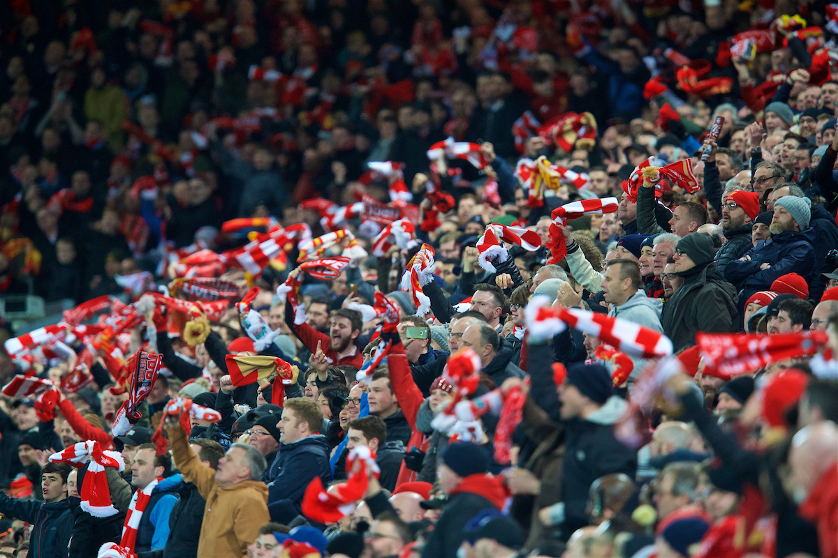 LIVERPOOL, ENGLAND - Wednesday, April 4, 2018: Liverpool supporters celebrate during the UEFA Champions League Quarter-Final 1st Leg match between Liverpool FC and Manchester City FC at Anfield. (Pic by David Rawcliffe/Propaganda)