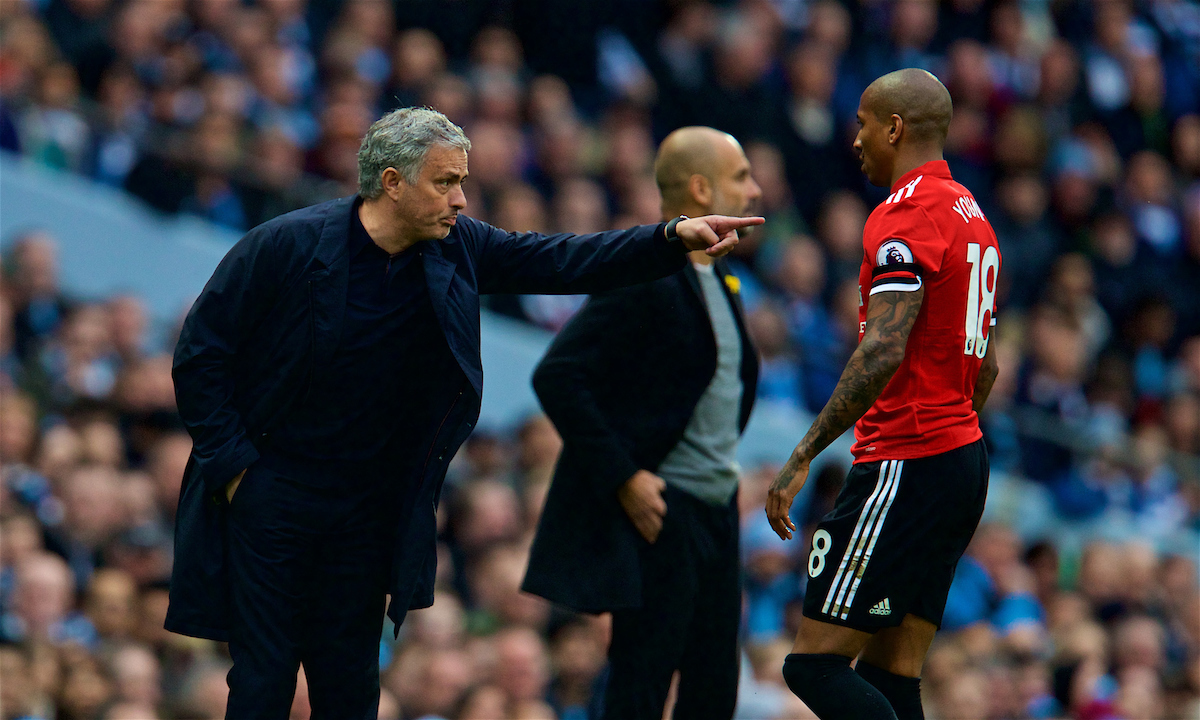 MANCHESTER, ENGLAND - Saturday, April 7, 2018: Manchester United's manager Jose Mourinho and Ashley Young during the FA Premier League match between Manchester City FC and Manchester United FC at the City of Manchester Stadium. (Pic by David Rawcliffe/Propaganda)
