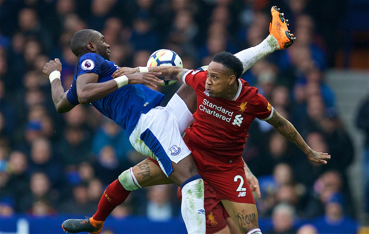 LIVERPOOL, ENGLAND - Saturday, April 7, 2018: Liverpool's Nathaniel Clyne and Everton's Yannick Bolasie during the FA Premier League match between Everton and Liverpool, the 231st Merseyside Derby, at Goodison Park. (Pic by David Rawcliffe/Propaganda)