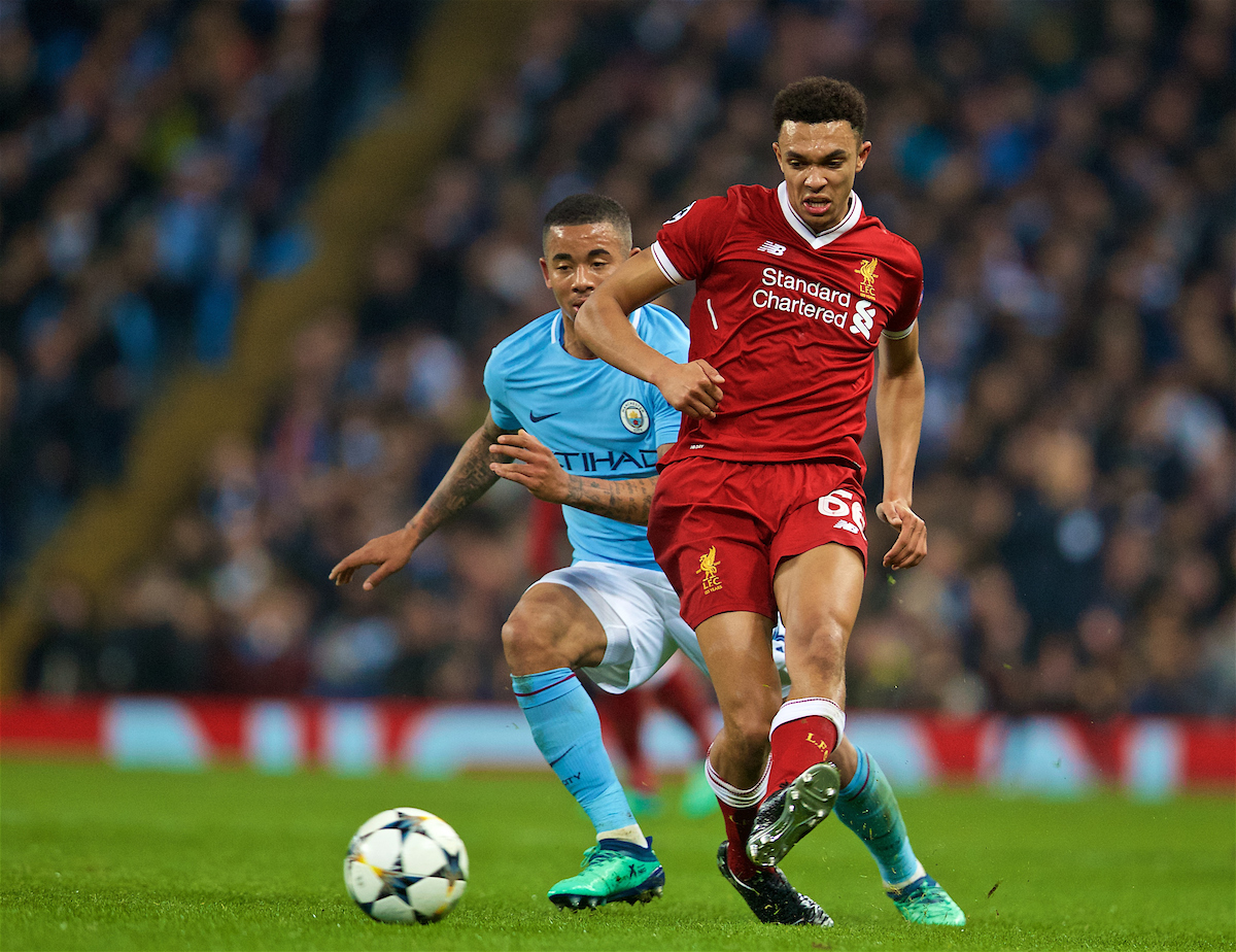 MANCHESTER, ENGLAND - Tuesday, April 10, 2018: Liverpool's Trent Alexander-Arnold (right) and Manchester City's Gabriel Jesus (left) during the UEFA Champions League Quarter-Final 2nd Leg match between Manchester City FC and Liverpool FC at the City of Manchester Stadium. (Pic by David Rawcliffe/Propaganda)
