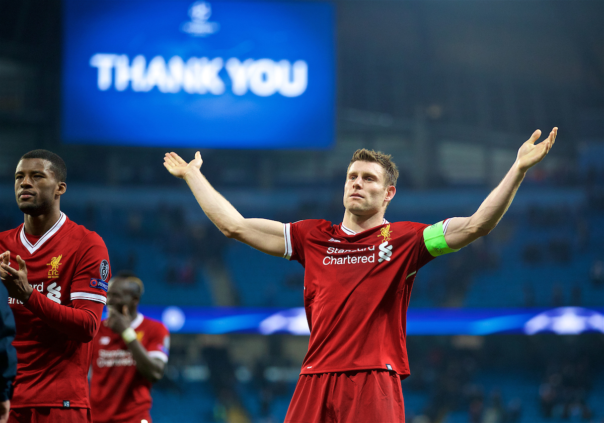 MANCHESTER, ENGLAND - Tuesday, April 10, 2018: Liverpool's captain James Milner celebrates after the 2-1 (5-1 aggregate) victory over Manchester City during the UEFA Champions League Quarter-Final 2nd Leg match between Manchester City FC and Liverpool FC at the City of Manchester Stadium. (Pic by David Rawcliffe/Propaganda)