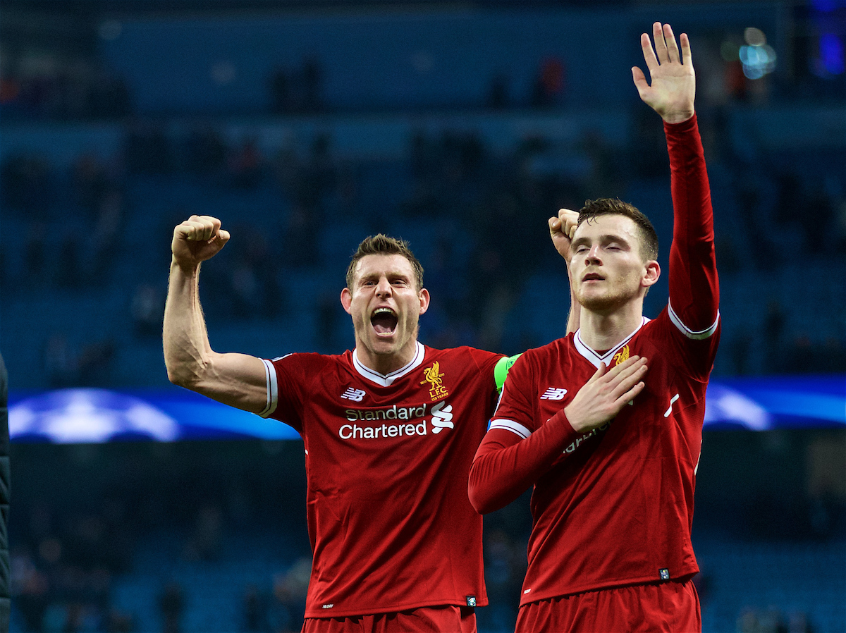 MANCHESTER, ENGLAND - Tuesday, April 10, 2018: Liverpool's captain James Milner (left) and Andy Robertson (right) celebrates after the 2-1 (5-1 aggregate) victory over Manchester City during the UEFA Champions League Quarter-Final 2nd Leg match between Manchester City FC and Liverpool FC at the City of Manchester Stadium. (Pic by David Rawcliffe/Propaganda)