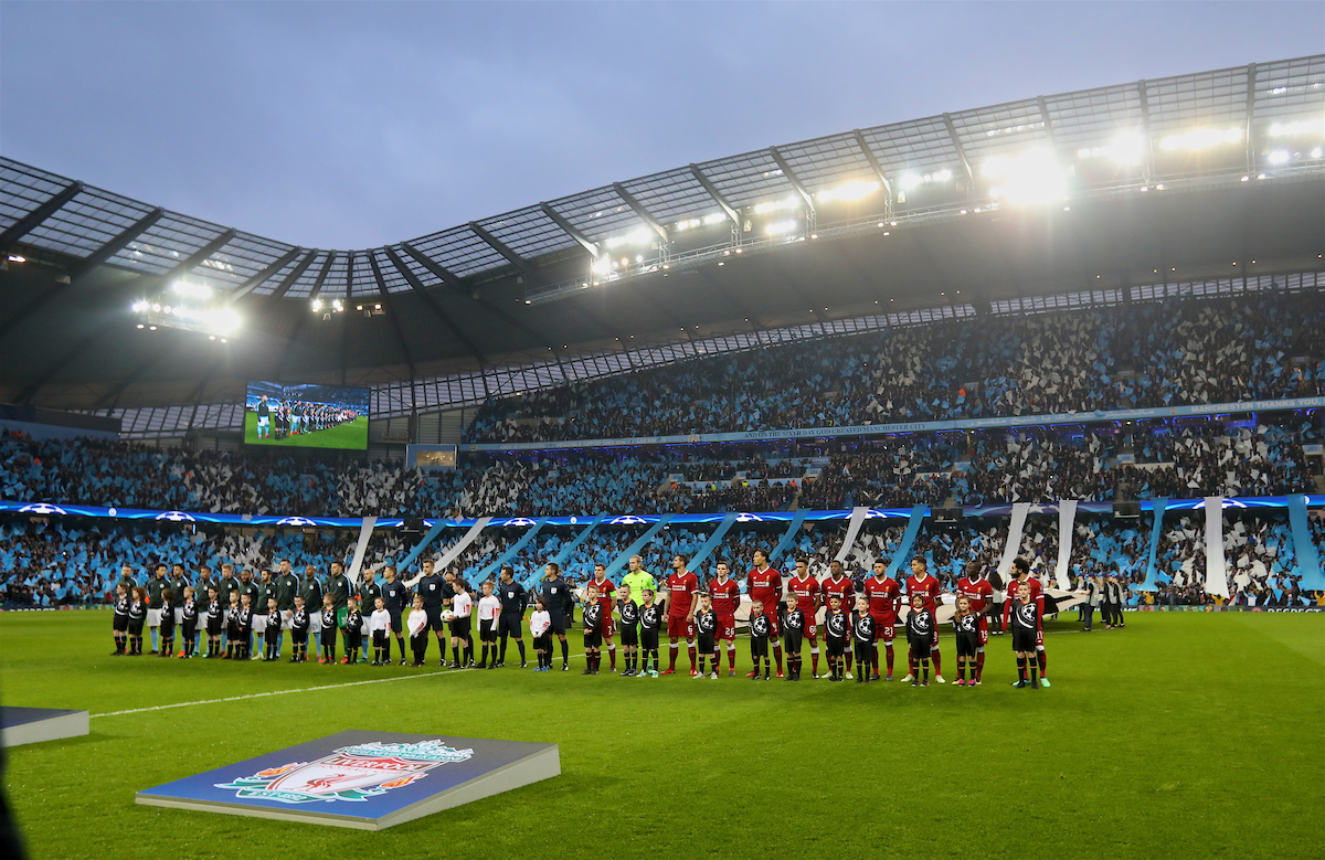 MANCHESTER, ENGLAND - Tuesday, April 10, 2018: Liverpool and Manchester City players line-up before the UEFA Champions League Quarter-Final 2nd Leg match between Manchester City FC and Liverpool FC at the City of Manchester Stadium. (Pic by David Rawcliffe/Propaganda)