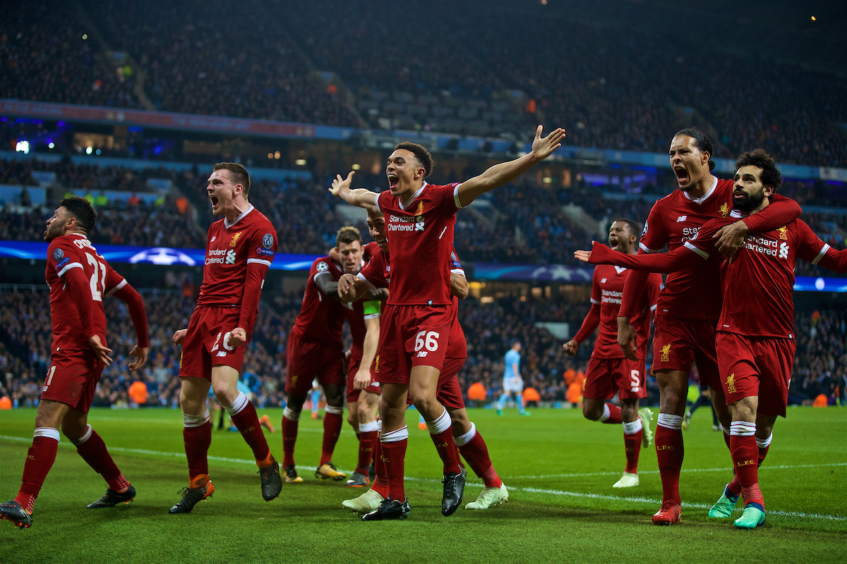 MANCHESTER, ENGLAND - Tuesday, April 10, 2018: Liverpool's Mohamed Salah celebrates scoring the first goal to equalise and make the score 1-1 during the UEFA Champions League Quarter-Final 2nd Leg match between Manchester City FC and Liverpool FC at the City of Manchester Stadium. (Pic by David Rawcliffe/Propaganda)