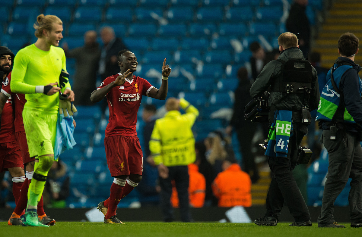 MANCHESTER, ENGLAND - Tuesday, April 10, 2018: Sadio Mane of Liverpool reacts after winning the UEFA Champions League Quarter-Final 2nd Leg match between Manchester City FC and Liverpool FC at the City of Manchester Stadium. (Pic by Peter Powell/Propaganda)