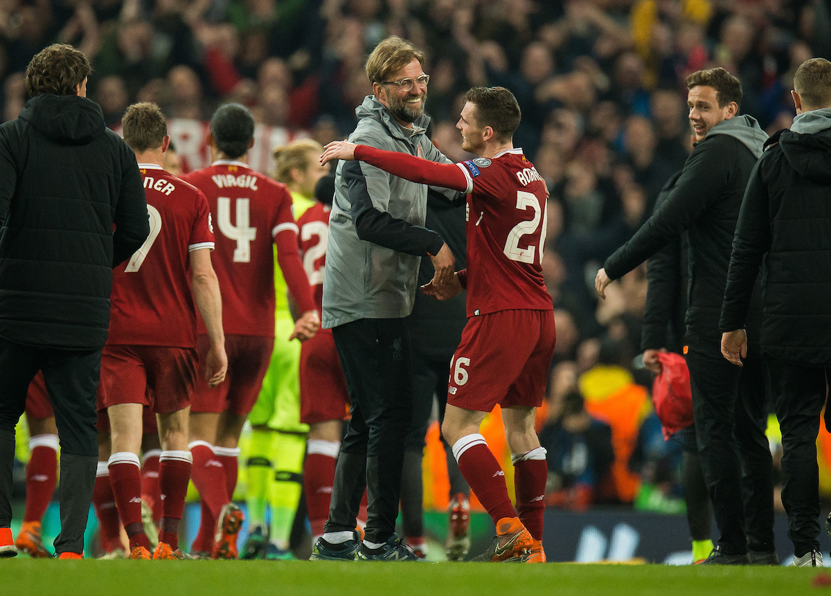 MANCHESTER, ENGLAND - Tuesday, April 10, 2018: Jurgen Klopp manager of Liverpool (L) reacts with Andrew Robertson of Liverpool (R) after the UEFA Champions League Quarter-Final 2nd Leg match between Manchester City FC and Liverpool FC at the City of Manchester Stadium. (Pic by Peter Powell/Propaganda)