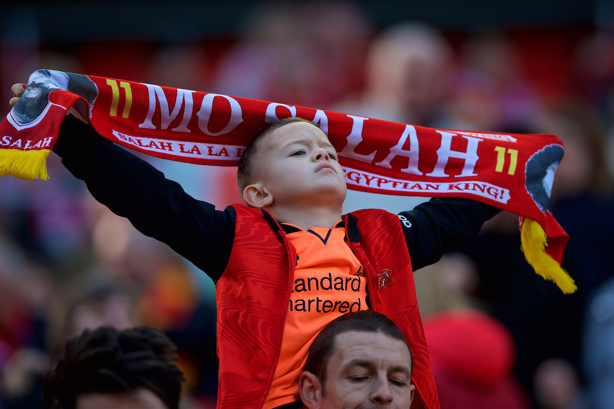 LIVERPOOL, ENGLAND - Saturday, April 14, 2018: A young Liverpool supporter with a Mohamed Salah scarf before the FA Premier League match between Liverpool FC and AFC Bournemouth at Anfield. (Pic by Laura Malkin/Propaganda)