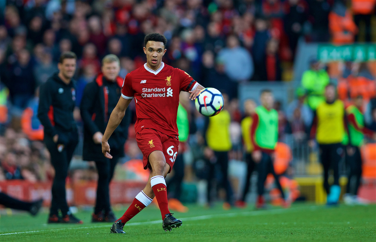 LIVERPOOL, ENGLAND - Saturday, April 14, 2018: Liverpool's Trent Alexander-Arnold crosses the ball to set-up the second goal during the FA Premier League match between Liverpool FC and AFC Bournemouth at Anfield. (Pic by Laura Malkin/Propaganda)