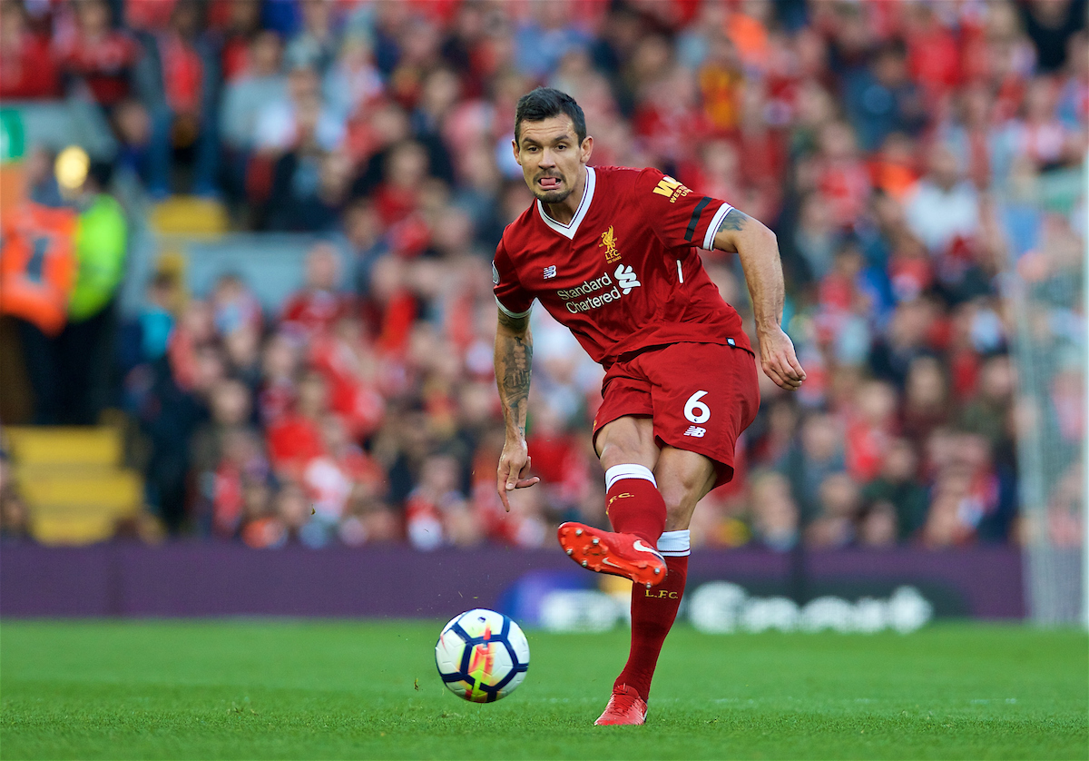 LIVERPOOL, ENGLAND - Saturday, April 14, 2018: Liverpool's Dejan Lovren during the FA Premier League match between Liverpool FC and AFC Bournemouth at Anfield. (Pic by Laura Malkin/Propaganda)