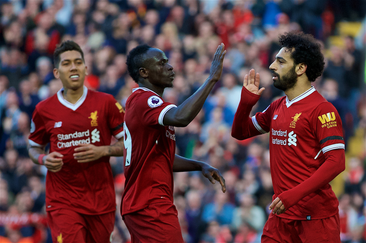 LIVERPOOL, ENGLAND - Saturday, April 14, 2018: Liverpool's Mohamed Salah (right) celebrates scoring the second goal with team-mates Sadio Mane (centre) and Roberto Firmino (left) during the FA Premier League match between Liverpool FC and AFC Bournemouth at Anfield. (Pic by Laura Malkin/Propaganda)
