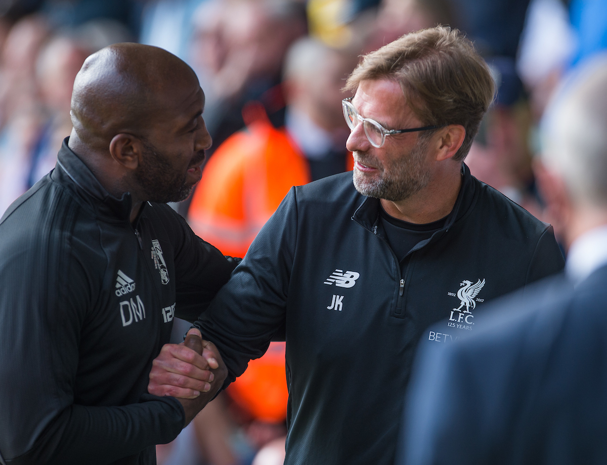 WEST BROMWICH, ENGLAND - Saturday, April 21, 2018: Liverpool's manager Jurgen Klopp reacts with West Bromwich Albion caretaker manager Darren Moore during the FA Premier League match between West Bromwich Albion FC and Liverpool FC at the Hawthorns. (Pic by Peter Powell/Propaganda)
