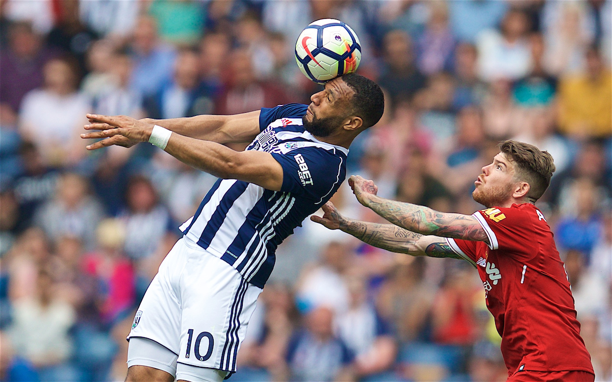 WEST BROMWICH, ENGLAND - Saturday, April 21, 2018: West Bromwich Albion's Matt Phillips and Liverpool's Alberto Moreno (right) during the FA Premier League match between West Bromwich Albion FC and Liverpool FC at the Hawthorns. (Pic by David Rawcliffe/Propaganda)