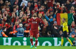 LIVERPOOL, ENGLAND - Tuesday, April 24, 2018: Liverpool's Mohamed Salah celebrates scoring the first goal during the UEFA Champions League Semi-Final 1st Leg match between Liverpool FC and AS Roma at Anfield. (Pic by David Rawcliffe/Propaganda)