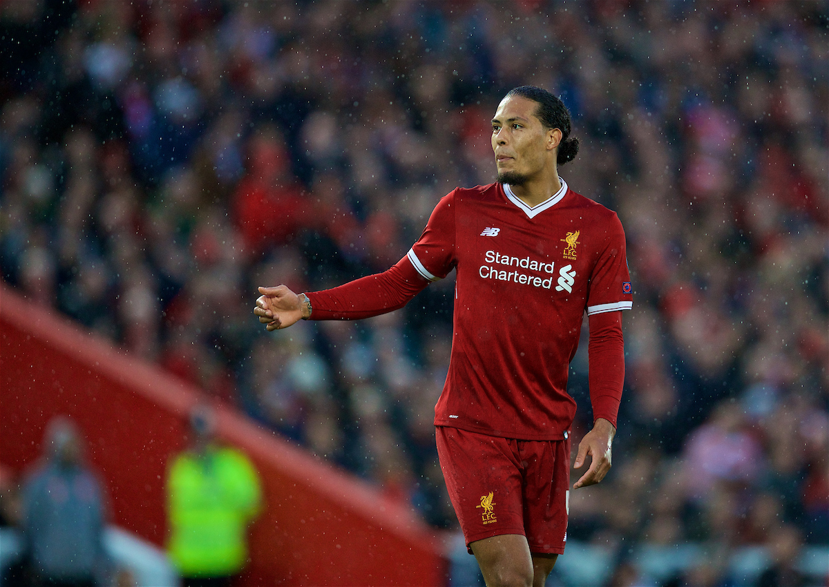 LIVERPOOL, ENGLAND - Tuesday, April 24, 2018: Liverpool's Virgil van Dijk during the UEFA Champions League Semi-Final 1st Leg match between Liverpool FC and AS Roma at Anfield. (Pic by David Rawcliffe/Propaganda)