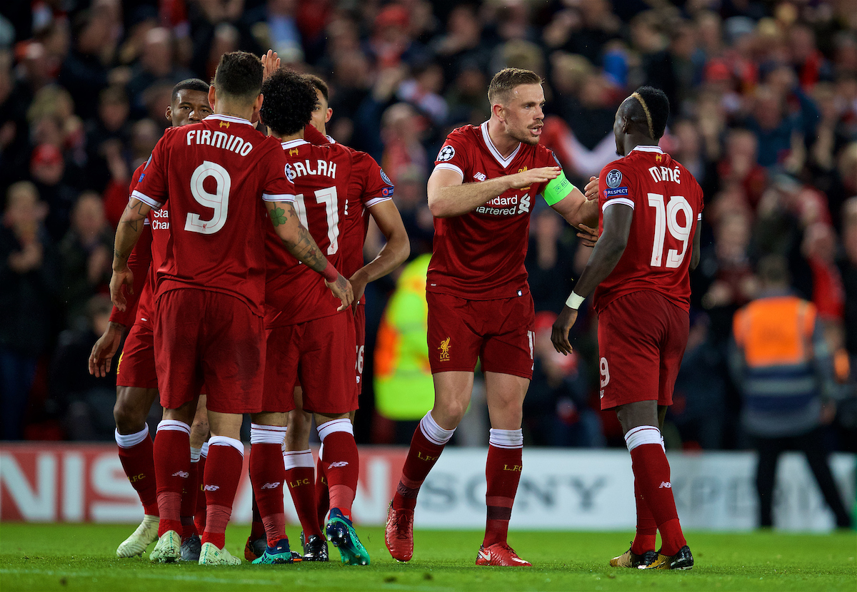 LIVERPOOL, ENGLAND - Tuesday, April 24, 2018: Liverpool's Sadio Mane celebrates scoring the third goal with team-mate captain Jordan Henderson during the UEFA Champions League Semi-Final 1st Leg match between Liverpool FC and AS Roma at Anfield. (Pic by David Rawcliffe/Propaganda)