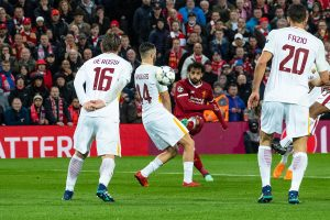 LIVERPOOL, ENGLAND - Tuesday, April 24, 2018: Liverpool's Mohamed Salah scores the first goal during the UEFA Champions League Semi-Final 1st Leg match between Liverpool FC and AS Roma at Anfield. (Pic by Carlo Baroncini/Propaganda)