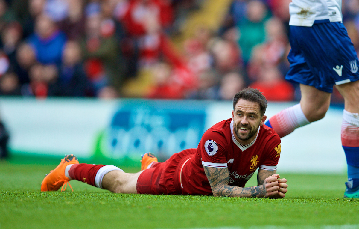 LIVERPOOL, ENGLAND - Saturday, April 28, 2018: Liverpool's Danny Ings appeals for a penalty after being brought down by Stoke City's Phil Bardsley during the FA Premier League match between Liverpool FC and Stoke City FC at Anfield. (Pic by David Rawcliffe/Propaganda)