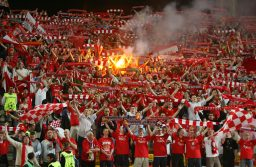ISTANBUL, TURKEY - WEDNESDAY, MAY 25th, 2005: Liverpool's fans during the UEFA Champions League Final Liverpool against AC Milan at the Ataturk Olympic Stadium, Istanbul. (Pic by David Rawcliffe/Propaganda)