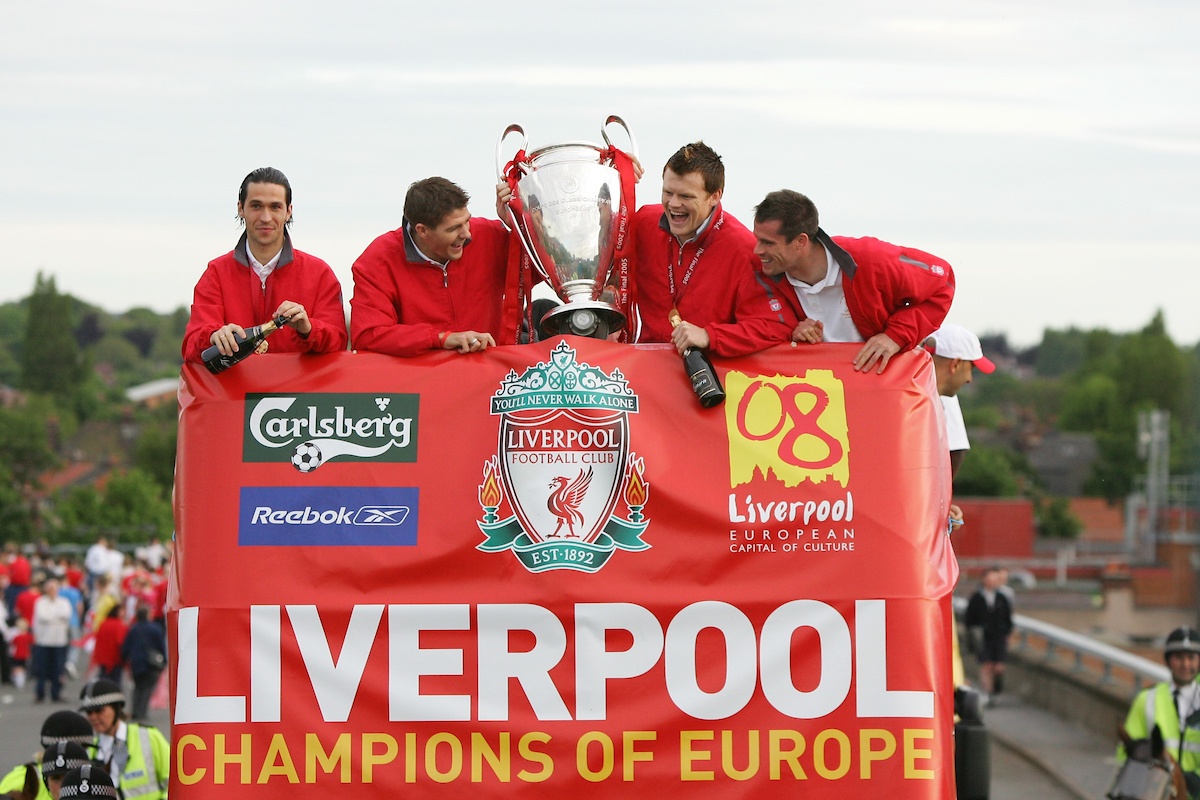 LIVERPOOL, ENGLAND - THURSDAY, MAY 26th, 2005: Liverpool players (L-R) Luis Garcia, Steven Gerrard, John Arne Riise and Jamie Carragher parade the European Champions Cup on on open-top bus tour of Liverpool in front of 500,000 fans after beating AC Milan in the UEFA Champions League Final at the Ataturk Olympic Stadium, Istanbul. (Pic by David Rawcliffe/Propaganda)