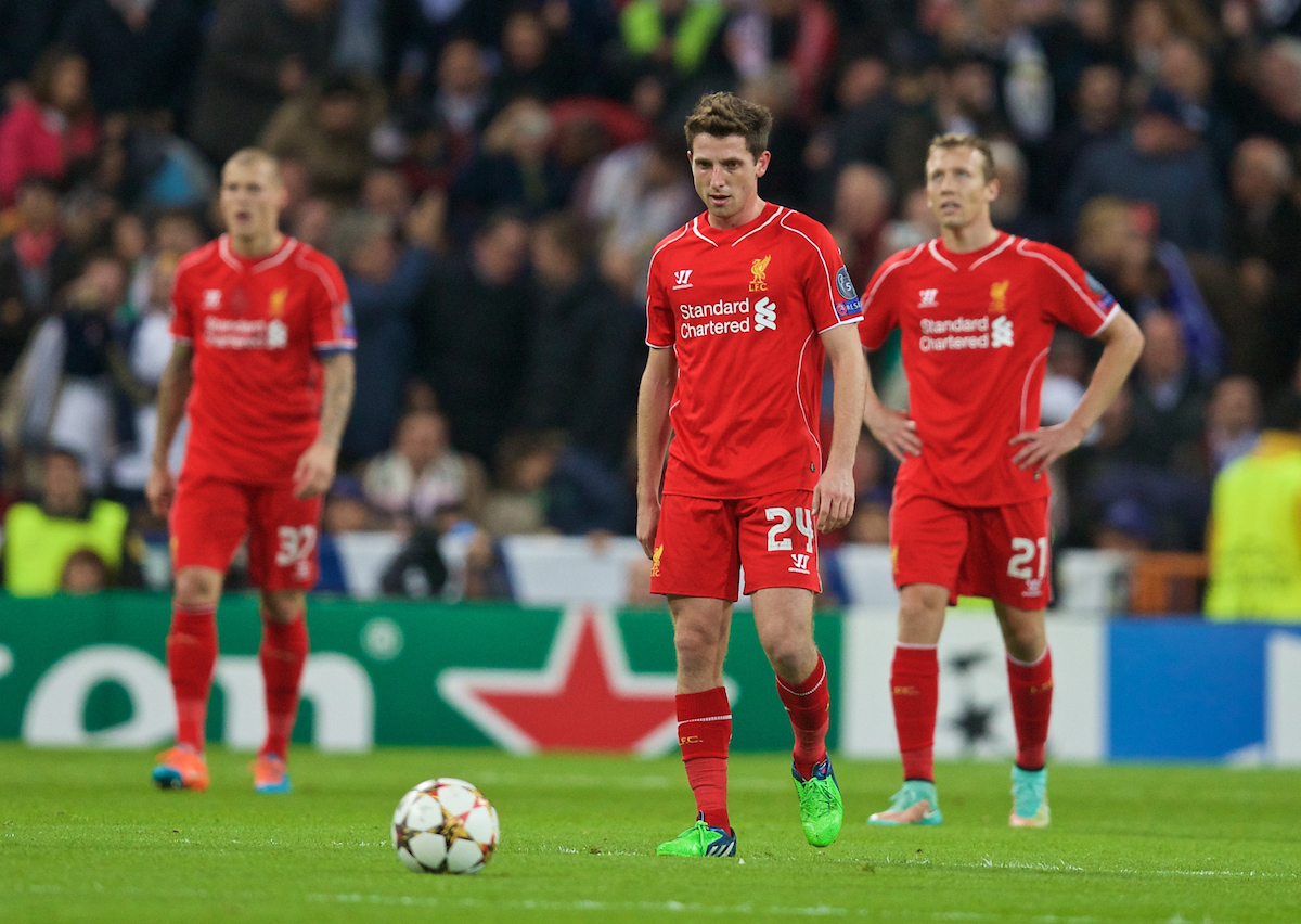 MADRID, SPAIN - Tuesday, November 4, 2014: Liverpool's Joe Allen looks dejected as Real Madrid score the winning goal during the UEFA Champions League Group B match at the Estadio Santiago Bernabeu. (Pic by David Rawcliffe/Propaganda)