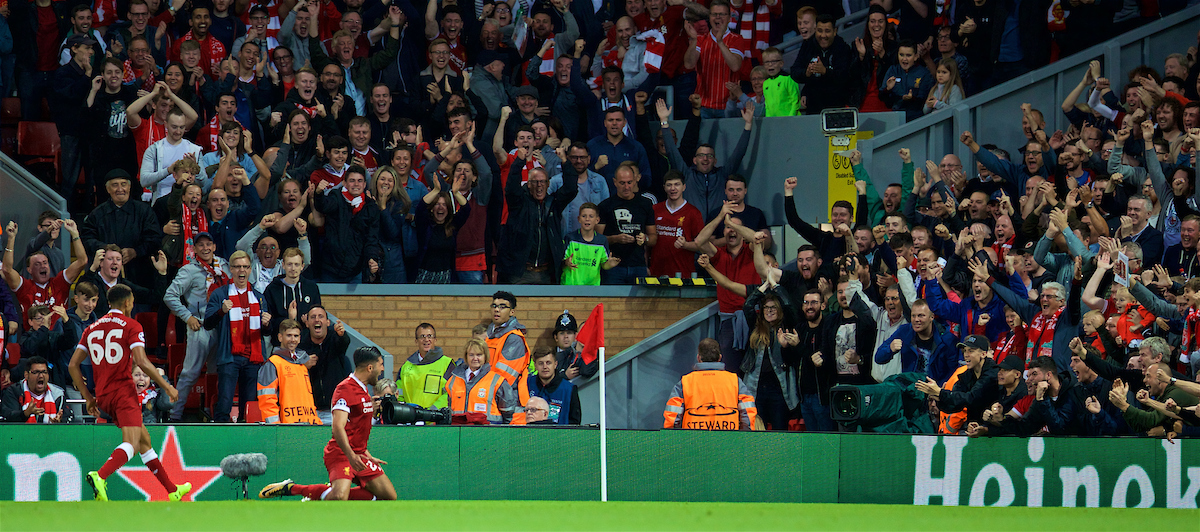 LIVERPOOL, ENGLAND - Wednesday, August 23, 2017: Liverpool's Emre Can celebrates scoring the third goal, his second, during the UEFA Champions League Play-Off 2nd Leg match between Liverpool and TSG 1899 Hoffenheim at Anfield. (Pic by David Rawcliffe/Propaganda)