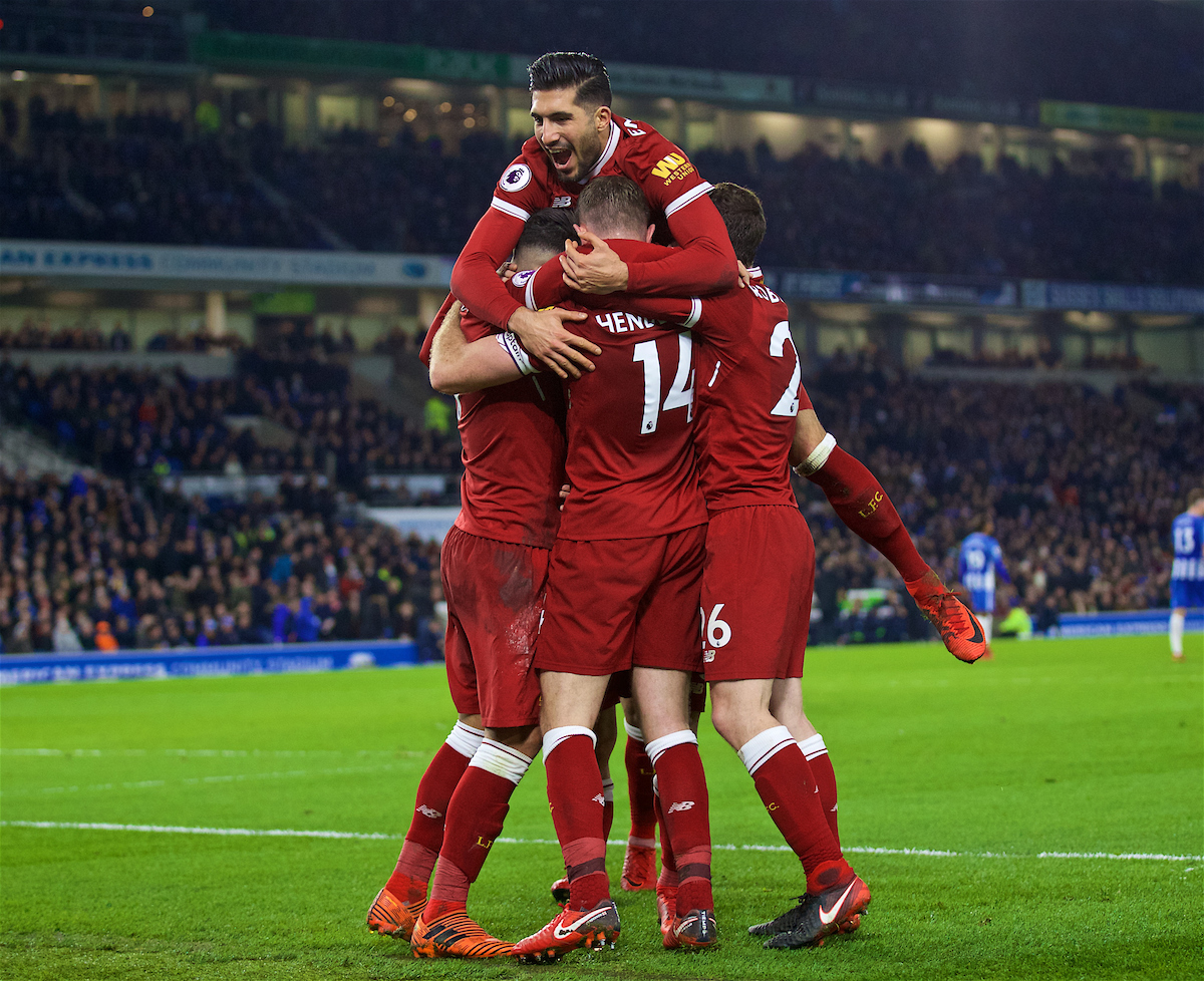 BRIGHTON AND HOVE, ENGLAND - Saturday, December 2, 2017: Liverpool's Philippe Coutinho Correia celebrates scoring the fourth goal with team-mate Emre Can during the FA Premier League match between Brighton & Hove Albion FC and Liverpool FC at the American Express Community Stadium. (Pic by David Rawcliffe/Propaganda)