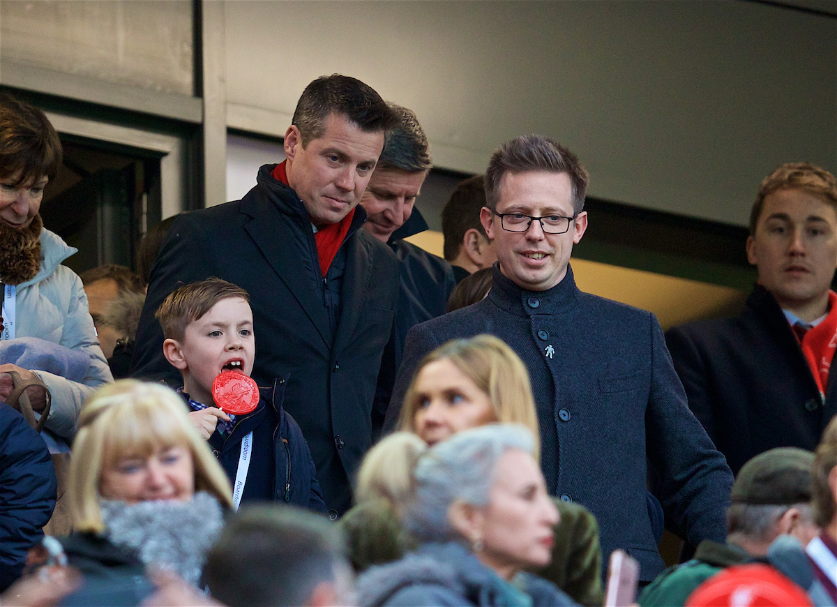 LIVERPOOL, ENGLAND - Saturday, December 30, 2017: Liverpool's Director of Football Michael Edwards and Commercial Director Billy Hogan during the FA Premier League match between Liverpool and Leicester City at Anfield. (Pic by David Rawcliffe/Propaganda)