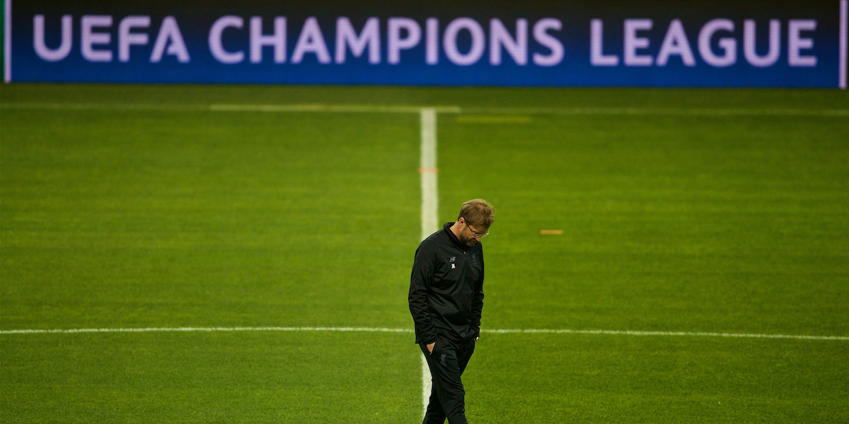 """PORTO, PORTUGAL - Tuesday, February 13, 2018: Liverpool's manager J¸rgen Klopp during a training session at the Est·dio do Drag""""o ahead of the UEFA Champions League Round of 16 1st leg match between FC Porto and Liverpool FC. (Pic by David Rawcliffe/Propaganda)"""