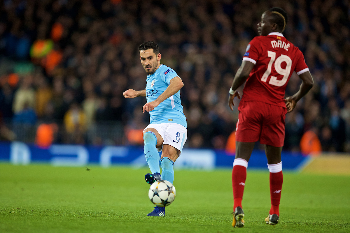LIVERPOOL, ENGLAND - Wednesday, April 4, 2018: Manchester City's Ilkay Gundogan during the UEFA Champions League Quarter-Final 1st Leg match between Liverpool FC and Manchester City FC at Anfield. (Pic by David Rawcliffe/Propaganda)