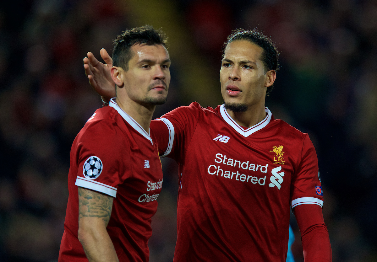 LIVERPOOL, ENGLAND - Wednesday, April 4, 2018: Liverpool's Virgil van Dijk (right) and Dejan Lovren during the UEFA Champions League Quarter-Final 1st Leg match between Liverpool FC and Manchester City FC at Anfield. (Pic by David Rawcliffe/Propaganda)