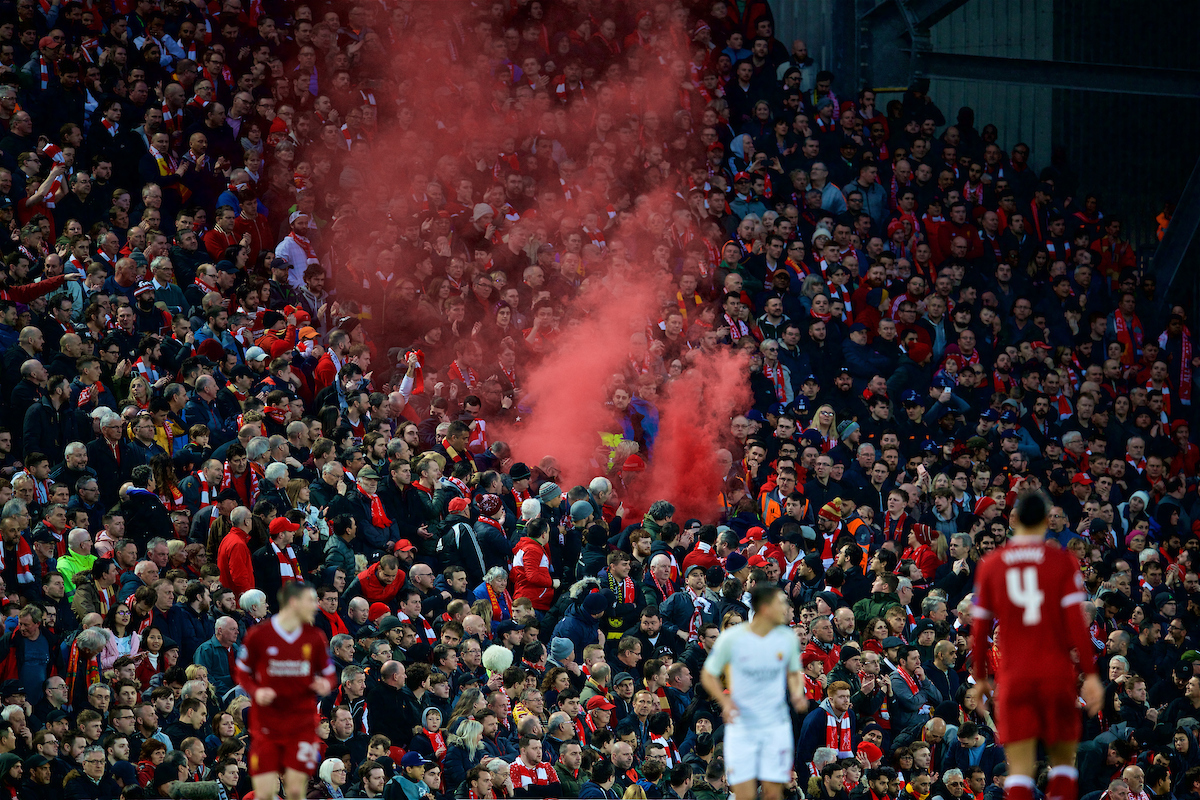 LIVERPOOL, ENGLAND - Tuesday, April 24, 2018: Liverpool supporters in the new Main Stand set off a red smoke bomb during the UEFA Champions League Semi-Final 1st Leg match between Liverpool FC and AS Roma at Anfield. (Pic by David Rawcliffe/Propaganda)