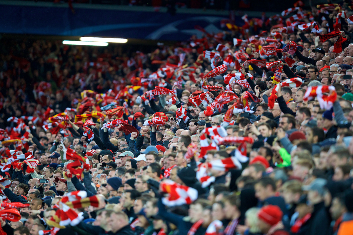 LIVERPOOL, ENGLAND - Tuesday, April 24, 2018: Liverpool supporters in the Kenny Dalglish Stand wave their scarves during the UEFA Champions League Semi-Final 1st Leg match between Liverpool FC and AS Roma at Anfield. (Pic by David Rawcliffe/Propaganda)