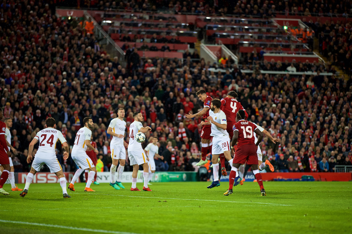LIVERPOOL, ENGLAND - Tuesday, April 24, 2018: Liverpool's Roberto Firmino scores the fifth goal, with a header, during the UEFA Champions League Semi-Final 1st Leg match between Liverpool FC and AS Roma at Anfield. (Pic by David Rawcliffe/Propaganda)