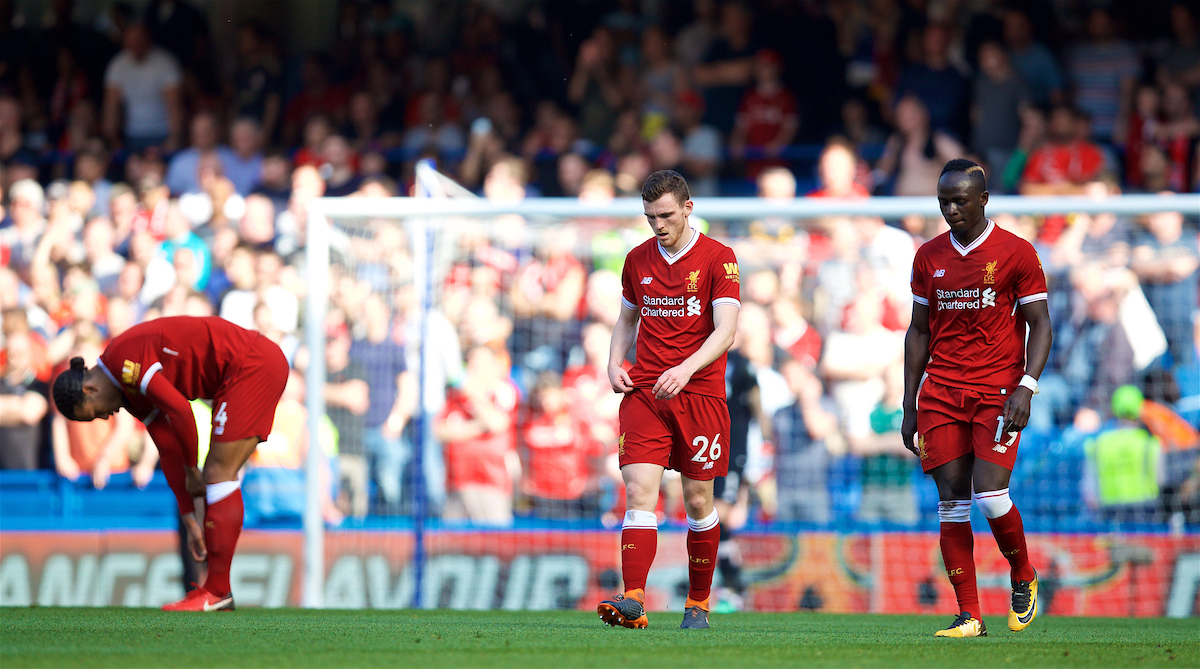 LONDON, ENGLAND - Sunday, May 6, 2018: Liverpool's Andy Robertson and Sadio Mane look dejected as Chelsea score the only goal of the game during the FA Premier League match between Chelsea FC and Liverpool FC at Stamford Bridge. (Pic by David Rawcliffe/Propaganda)
