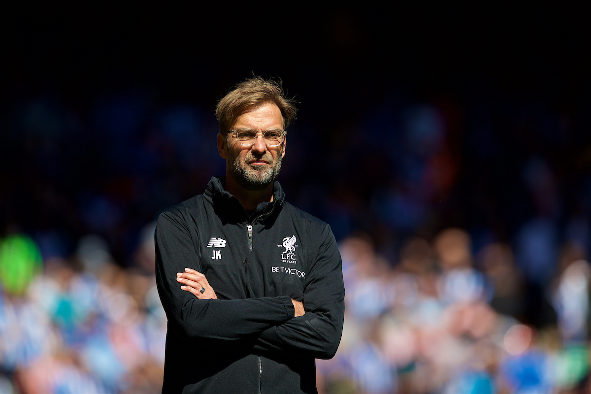 LIVERPOOL, ENGLAND - Sunday, May 13, 2018: Liverpool's manager Jürgen Klopp during the pre-match warm-up before the FA Premier League match between Liverpool FC and Brighton & Hove Albion FC at Anfield. (Pic by David Rawcliffe/Propaganda)