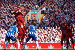 LIVERPOOL, ENGLAND - Sunday, May 13, 2018: Liverpool's Dejan Lovren scores the second goal during the FA Premier League match between Liverpool FC and Brighton & Hove Albion FC at Anfield. Liverpool won 4-0 and finished 4th. (Pic by David Rawcliffe/Propaganda)
