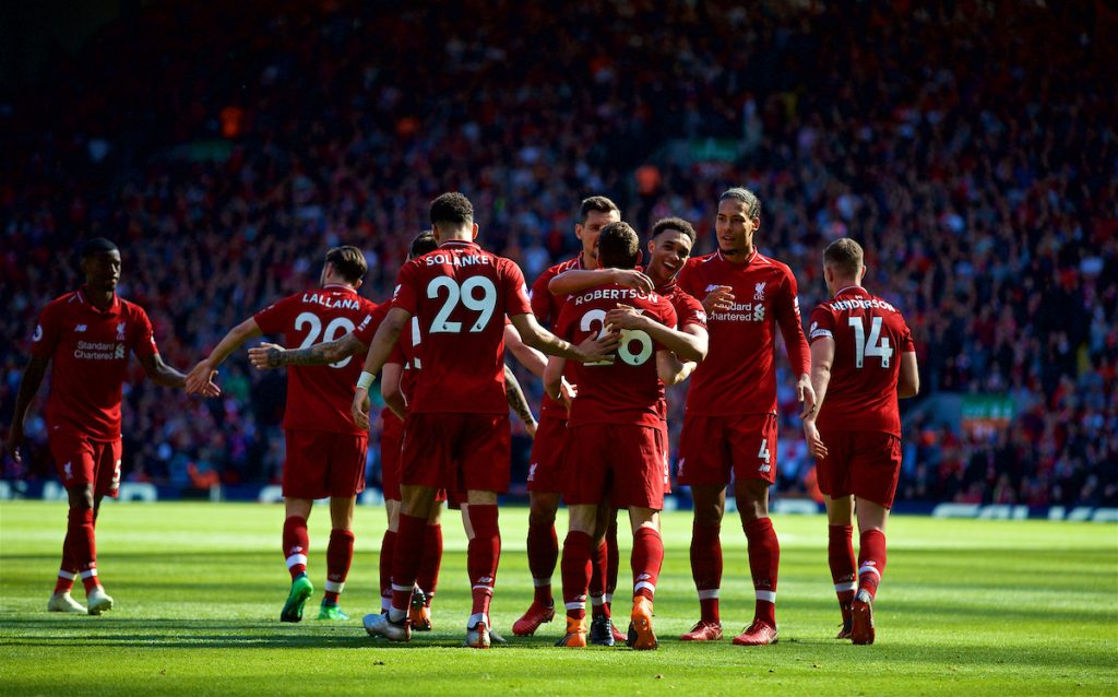 LIVERPOOL, ENGLAND - Sunday, May 13, 2018: Liverpool's Andy Robertson celebrates scoring the fourth goal, his first for the club, with team-mates during the FA Premier League match between Liverpool FC and Brighton & Hove Albion FC at Anfield. Liverpool won 4-0 and finished the season 4th. (Pic by David Rawcliffe/Propaganda)