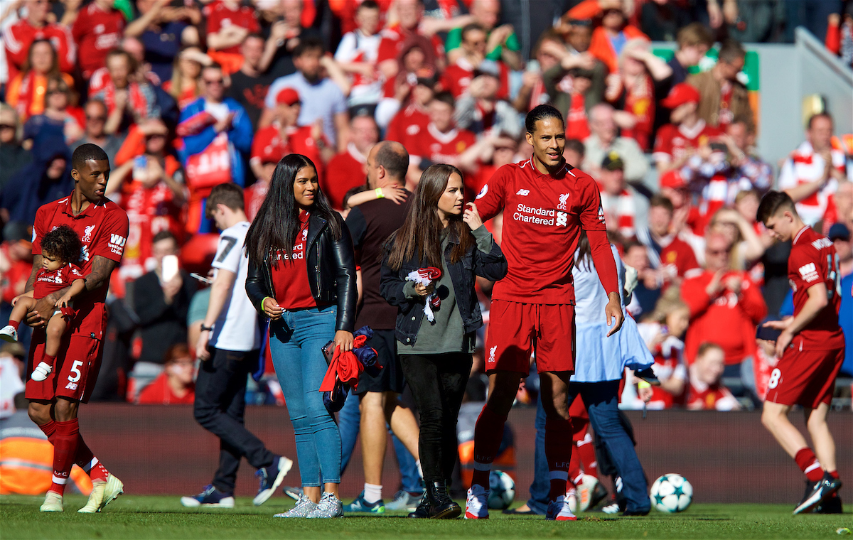 LIVERPOOL, ENGLAND - Sunday, May 13, 2018: Liverpool's Virgil van Dijk during the players' lap of honour after the FA Premier League match between Liverpool FC and Brighton & Hove Albion FC at Anfield. Liverpool won 4-0 and finished 4th. (Pic by David Rawcliffe/Propaganda)