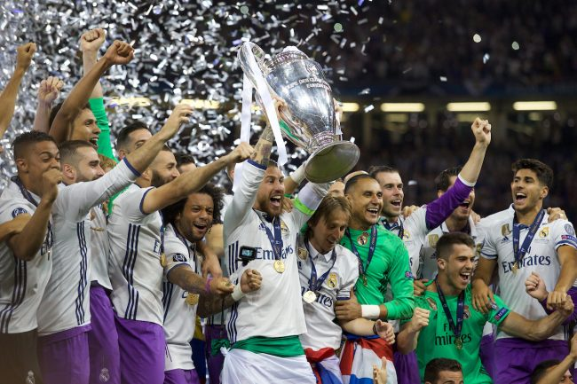 CARDIFF, WALES - Saturday, June 3, 2017: Real Madrid's Sergio Ramos lifts the European Cup after the UEFA Champions League Final between Juventus FC and Real Madrid CF at the Stadium of Wales. (Pic by Don Jackson-Wyatt/Propaganda)