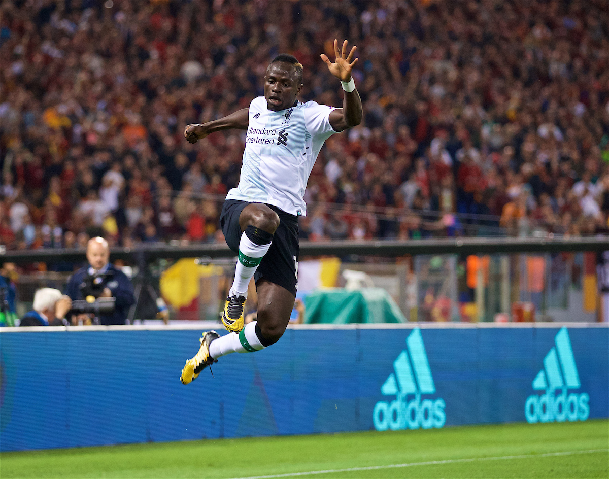ROME, ITALY - Wednesday, May 2, 2018: Liverpool's Sadio Manes celebrates scoring the first goal during the UEFA Champions League Semi-Final 2nd Leg match between AS Roma and Liverpool FC at the Stadio Olimpico. (Pic by David Rawcliffe/Propaganda)