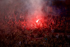 ROME, ITALY - Wednesday, May 2, 2018: Liverpool supporters set off a red flare before the UEFA Champions League Semi-Final 2nd Leg match between AS Roma and Liverpool FC at the  Stadio Olimpico. (Pic by David Rawcliffe/Propaganda)