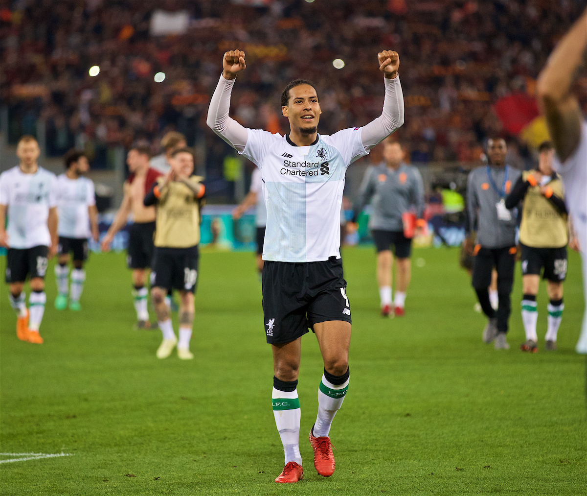ROME, ITALY - Wednesday, May 2, 2018: Liverpool's Virgil van Dijk celebrates after the 7-6 aggregate victory over AS Roma during the UEFA Champions League Semi-Final 2nd Leg match between AS Roma and Liverpool FC at the Stadio Olimpico. (Pic by David Rawcliffe/Propaganda)